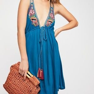 Free People Lovers Cove Dress Blue Embroidered XS